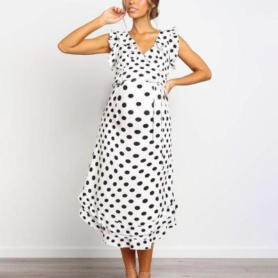 Maternity Polka Dots Sleeveless Falbala Midi Dress