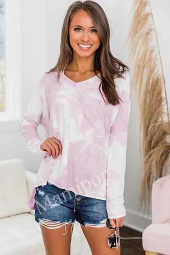 Women's  Winter V Neck Pocket Long Loose Sleeve Tie Dye Tops