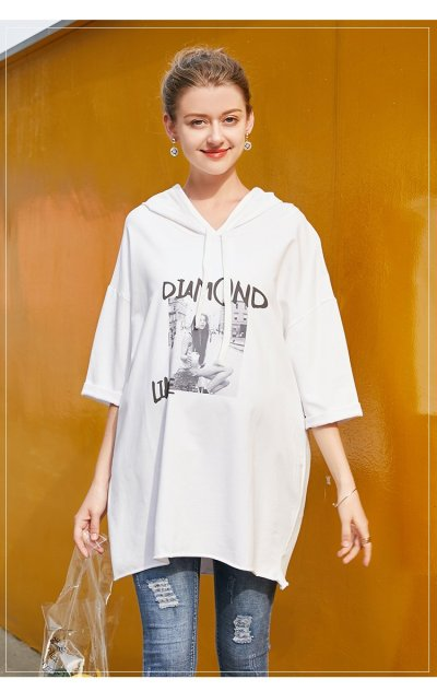 Fashion Casual Loose Letter Printing Hooded Dress