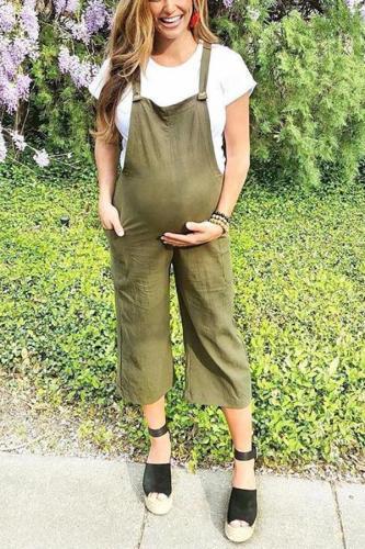 Maternity  Green Wide Leg Jumpsuit