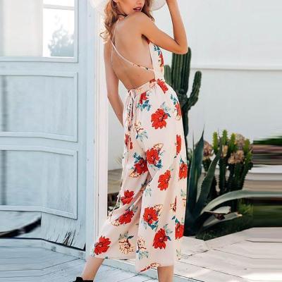Maternity Sweet V-neck flower print halter jumpsuit
