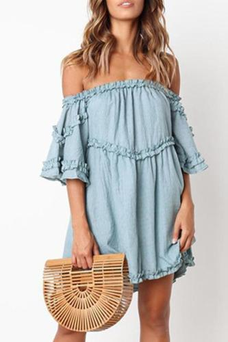 Maternity Casual Wooden Ear Splicing One-Shoulder Dress