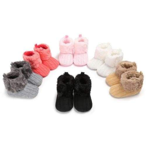 Cute Newborn Baby Infant Cotton Knitted Fur Soft Snow Booties Prewalker