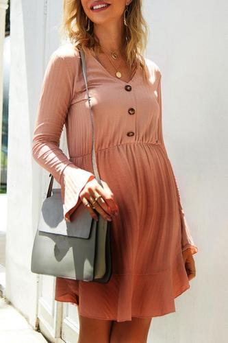Maternity Casual V-Neck Flared Sleeve High Waist Short Dress
