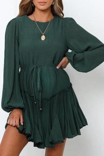 Maternity Fashionable v-neck loose solid color dress