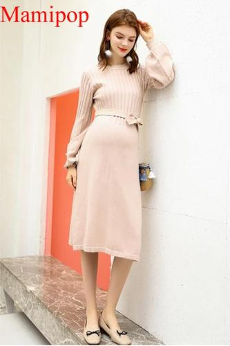 Pregnant Women Sweater Skirt Spring And Autumn Maternity Dress