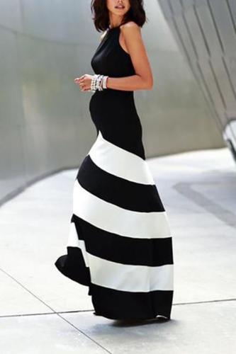 Maternity Black And White Striped Stitching Dress
