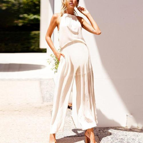 Maternity Plain Loose Jumpsuit