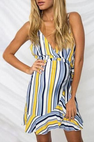 Maternity V-Neck Strappy Striped Dress