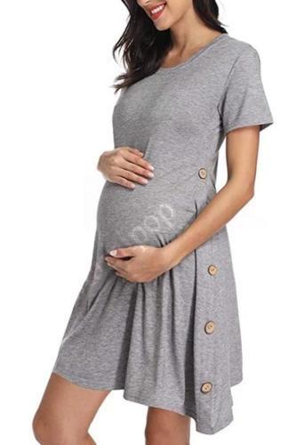 New Pregnant Women' Short Sleeve Button Solid Color Dress