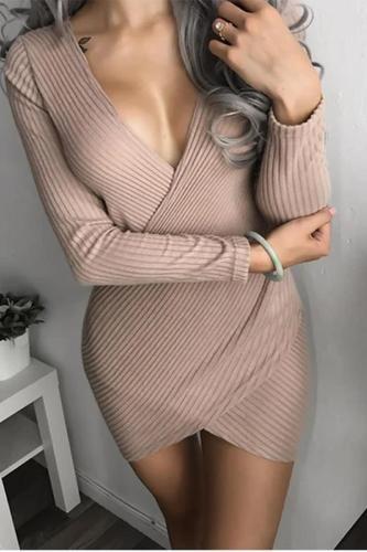 Maternity Casual V Neck Pure Colour Stripe Dress