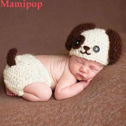 Newborn Photography Dog Puppy Props Knitted Hats Shorts Set
