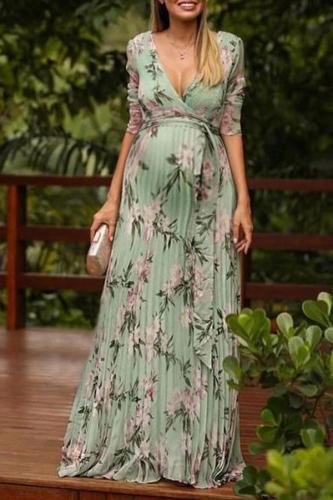 Maternity Sexy V-neck green printed belt short-sleeved dress