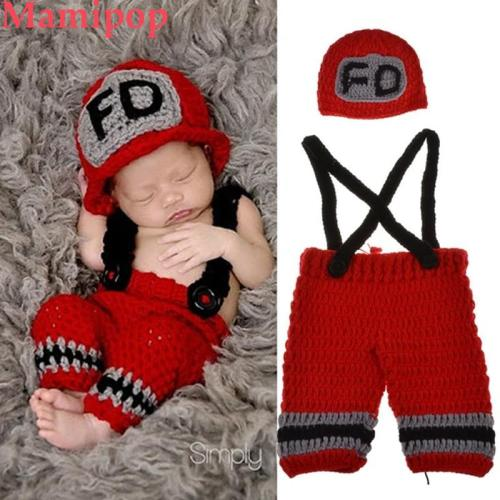 1 Set Newborn Photography Props Baby Boys Fireman Cap Crochet Knit Costume
