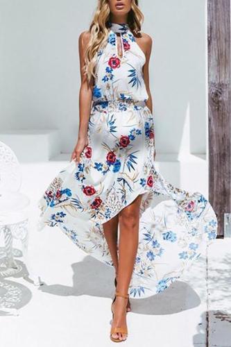 Casual Maternity Beach Sleeveless Print Maxi Dress
