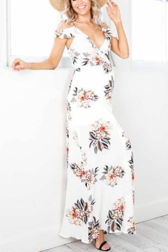 Maternity Ruffled Double V Split Sling Print Dress