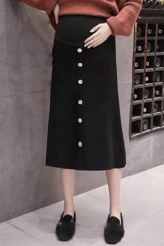 Maternity casual high waist loose slimming wild knit A-line skirt