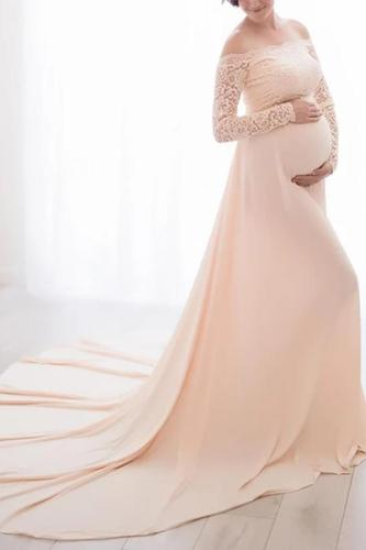 Maternity Boat Neck Lace Pure Color Dress