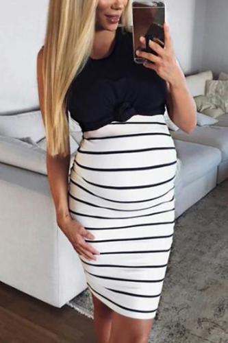 Maternity Casual Round Neck Sleeveless Stripe Dress
