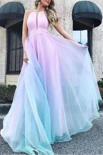 Sexy Halter Dew Shoulder Gradient Evening Dress