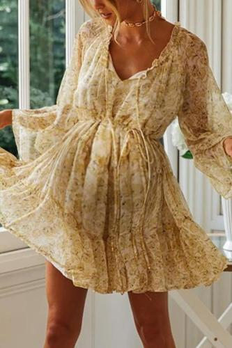 Maternity V Neck Long Sleeve Printed Dress