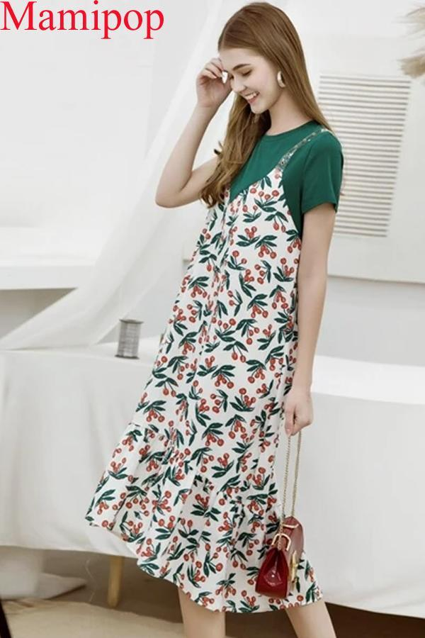 Summer New Fashion Long Skirt big Swing Pregnant Dress