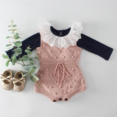 Autumn 2020 Color Contrast Hand ball baby knitting Wool Jumpsuit