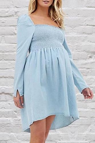 Maternity Cute Square Collar Long Sleeve Plain Mini Dress