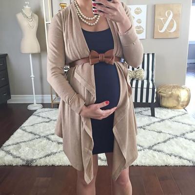 Maternity Long Sleeve Asymmetric Plain Casual Cardigan