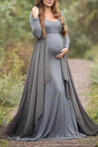 Fashion Solid Color Round Neck Long Sleeve Maternity Dress