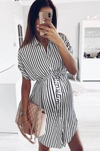 Maternity Fashion Striped Fold Over Collar Single-Breasted Dress