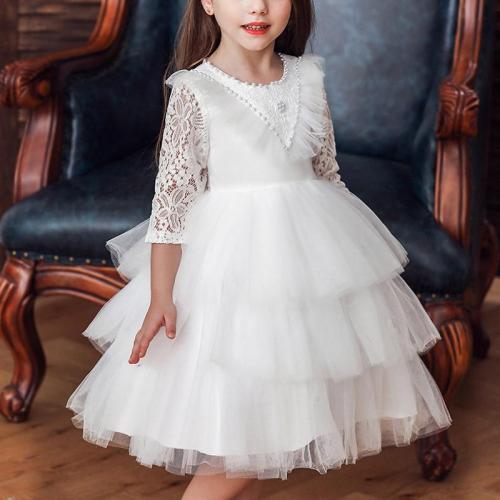 Mid-Sleeve Multi-Layered Lace Princess Evening Dress
