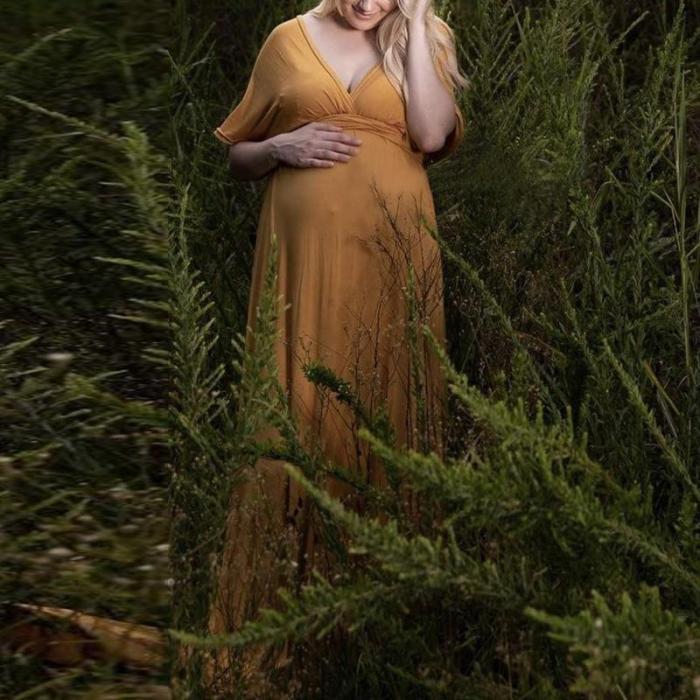 Maternity Casual Pure Color V Neck Dress