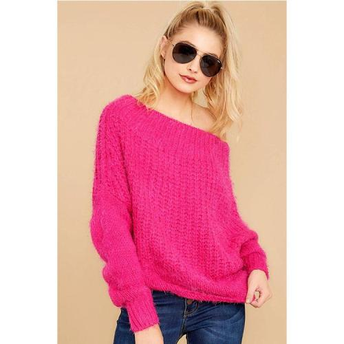 Autumn and Winter Women's Loose Casual Solid-colored sweater