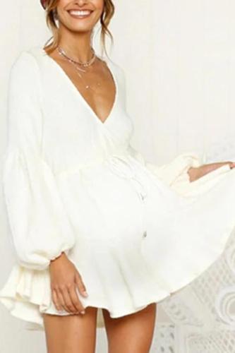Maternity Deep V Puff Sleeve Strap Dress