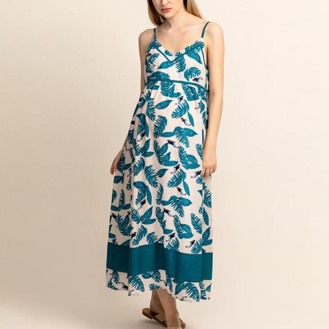 Us 40 98 Maternity V Neck Spaghetti Strap Printing Maxi Dress Www Mamipop Com