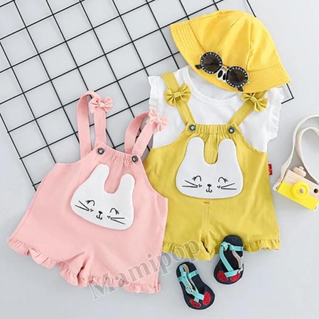 2020 n summer Korean version of children sleeveless cartoon cat strap pants two-piece set
