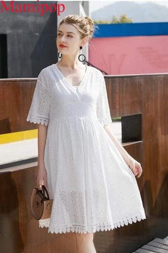 Summer  Fashion Loose y V Neck Short Sleeve Hollow Out Maternity Dress