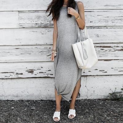 Casual Pure Color Round Neck Sleeveless Slit Hem Dress