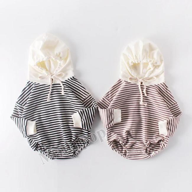 Autumn Baby Striped  Newborn Clothes Hooded Jumpsuit Climbing Clothes