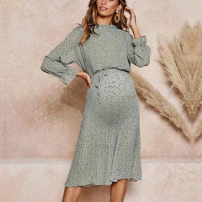 Maternity Fashion Floral Lace Chiffon Dress