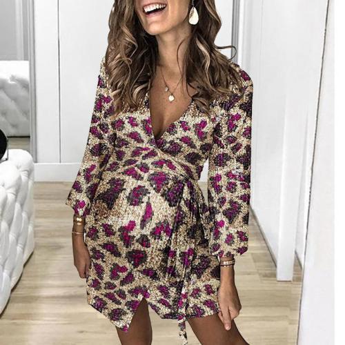 Maternity Fashionable v-neck Long Sleeve Print Dress