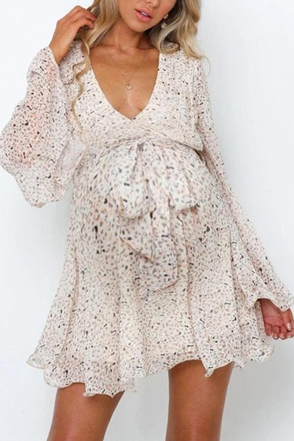 Maternity Elegant V-neck Stitching Print Dress