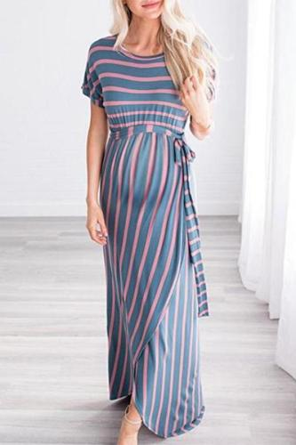 Maternity O-Neck Short Sleeve Stripe Maxi Dress