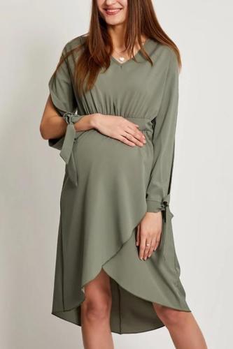 Maternity Long Sleeves V Neck Skater Dress