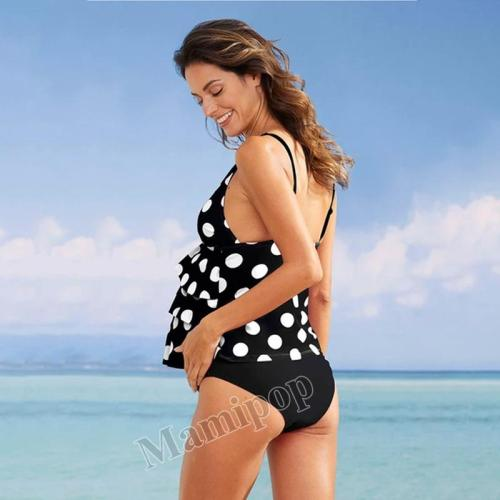 New pregnant women's large bikini dot print pop double fold design split swimwear