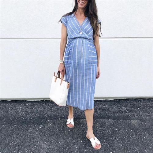 Maternity Striped Stitching Short Sleeve Dress