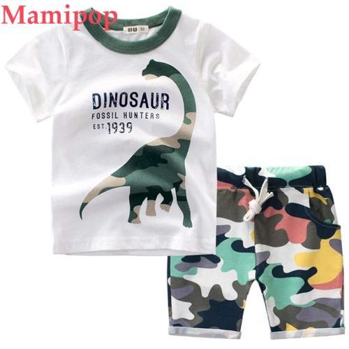 Summer Baby Boys Cartoon Dinosaur T Shirt Tops Camo Shorts Clothes