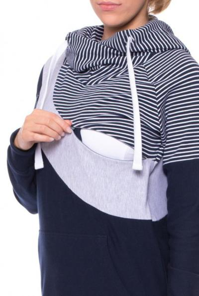 2020 Long-sleeved Spliced Breast-feeding Jacket Cotton Stripes Multicolor Invisible Breast-feeding Hoode
