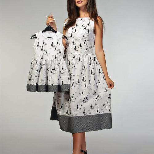 Cute Printed Colour Sleeveless Parent-child Dress